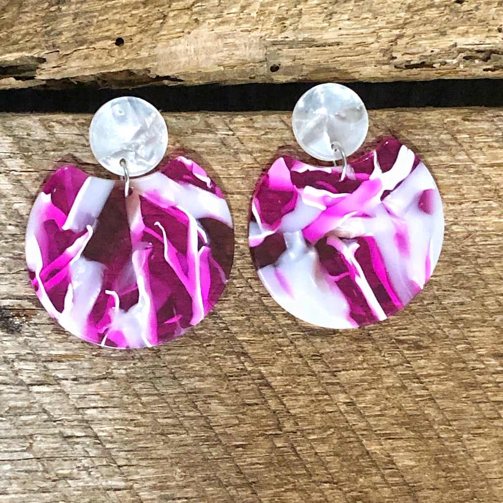 Pink and White Mosiac Earrings