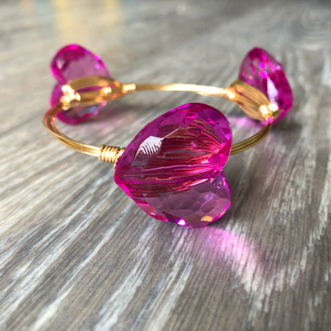 Pink Heart Bead Bangle