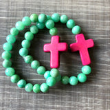 Mint and Pink Cross Bracelet