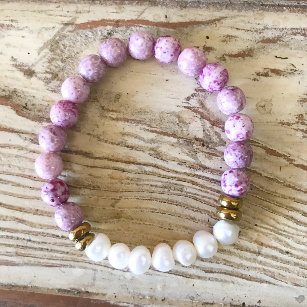 Freshwater Pearl and Amethyst Bracelet