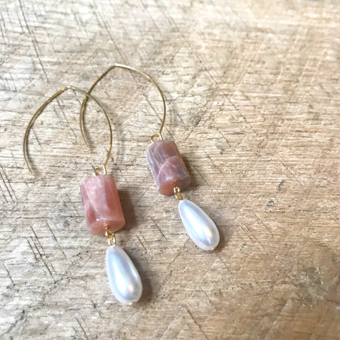 Pink Moonstone and Pearl Drop Earrings