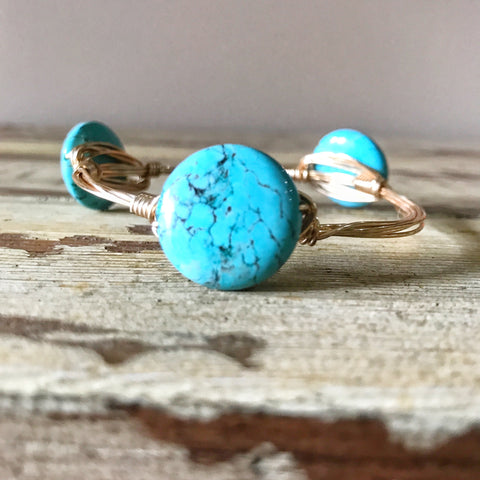 Small Round Turquoise Wire Wrap Bangle