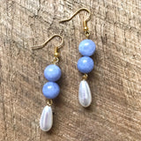 Blue and White Pearl Drop Earrings