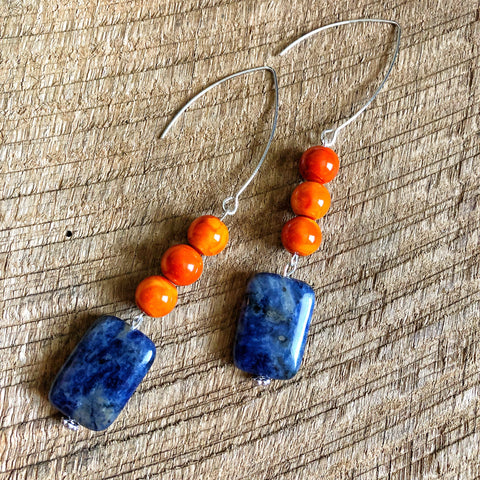 Blue and Orange Earrings