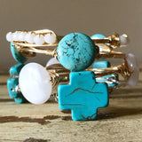 Small Turquoise cross wire wrap bracelet