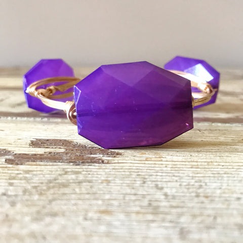 Purple Acrylic Wire Bangle
