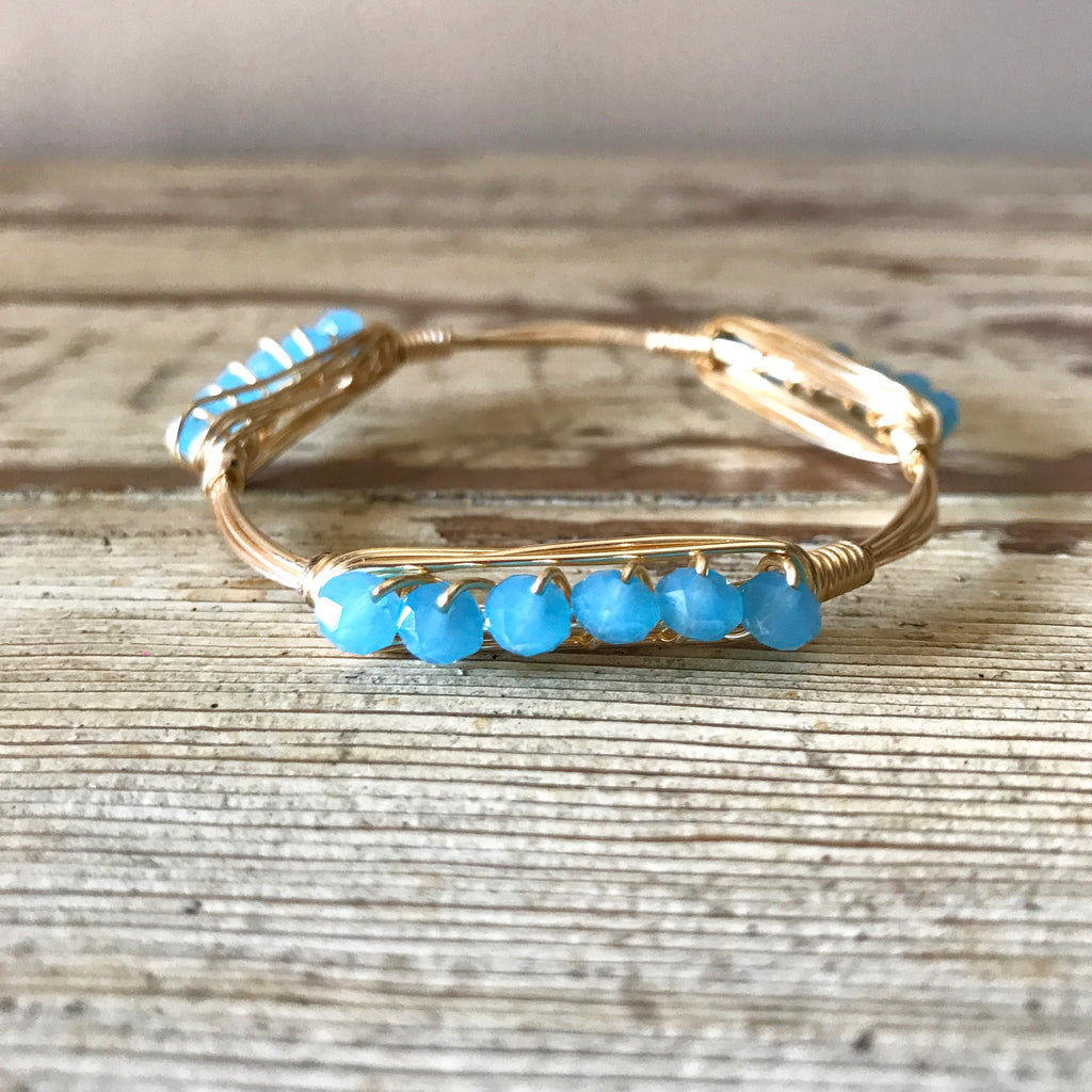 Light Blue Crystal Wire Wrap Bangle
