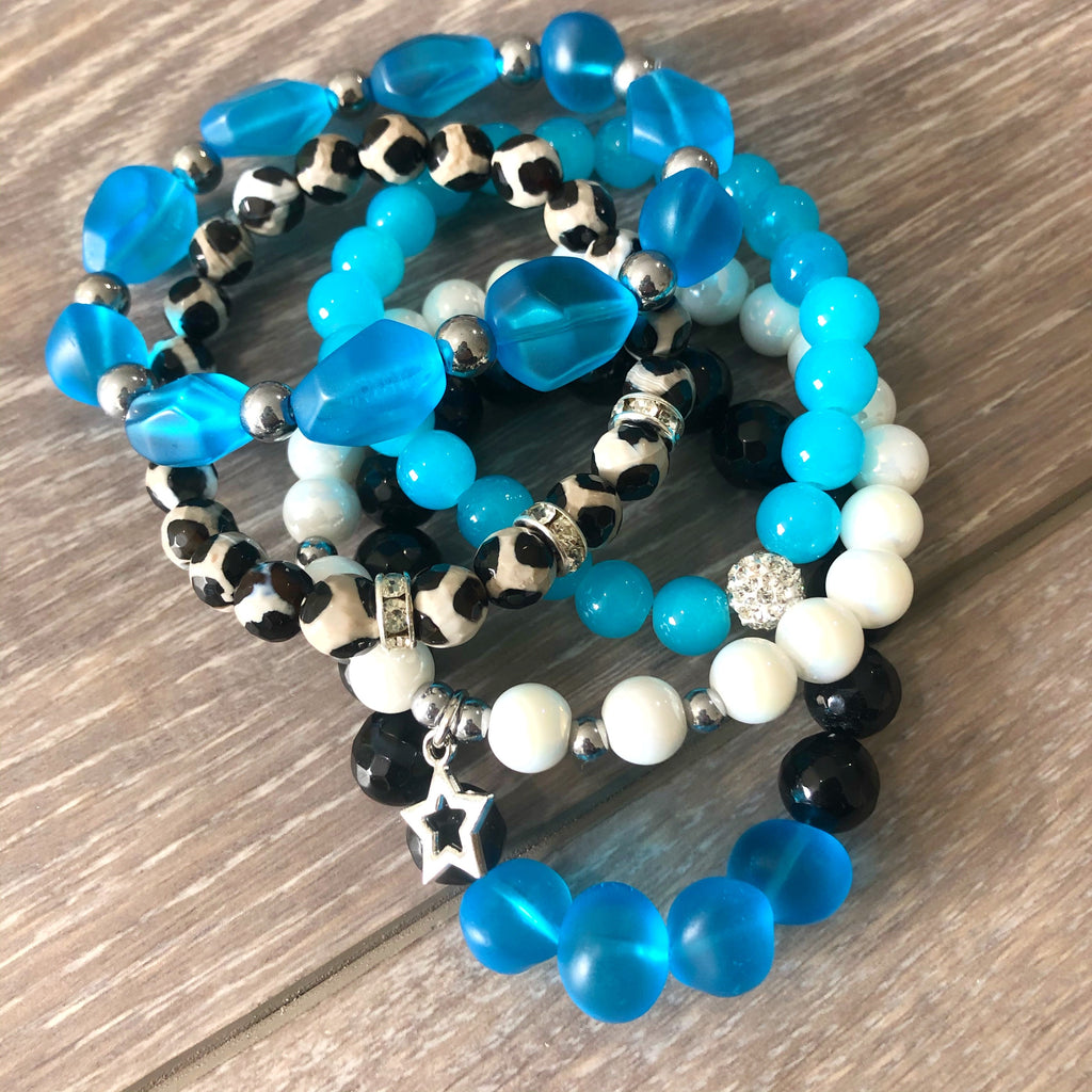 Black and Blue Beaded Bracelet Stack