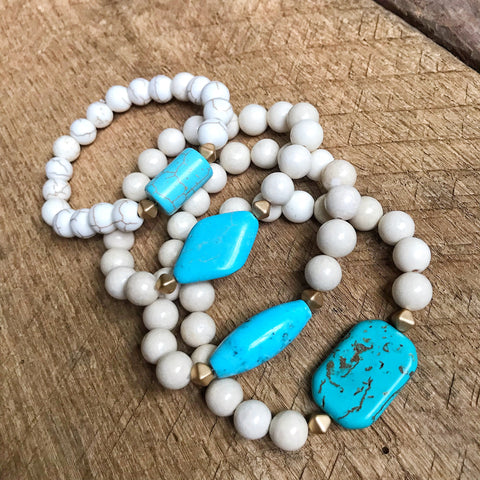 Turquoise and White Beaded Bracelets
