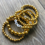 Gold Beaded Bracelet, 6mm