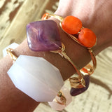 Orange glass wire wrapped bracelet