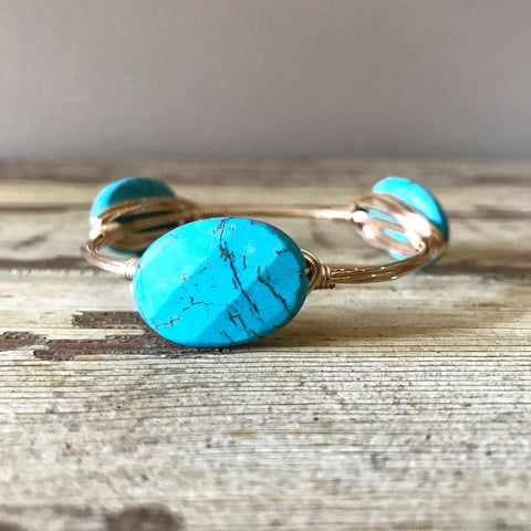 Turquoise Bead Wire Wrap Bangle