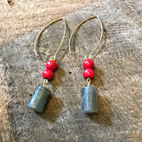 Red and Gray Beaded Earrings