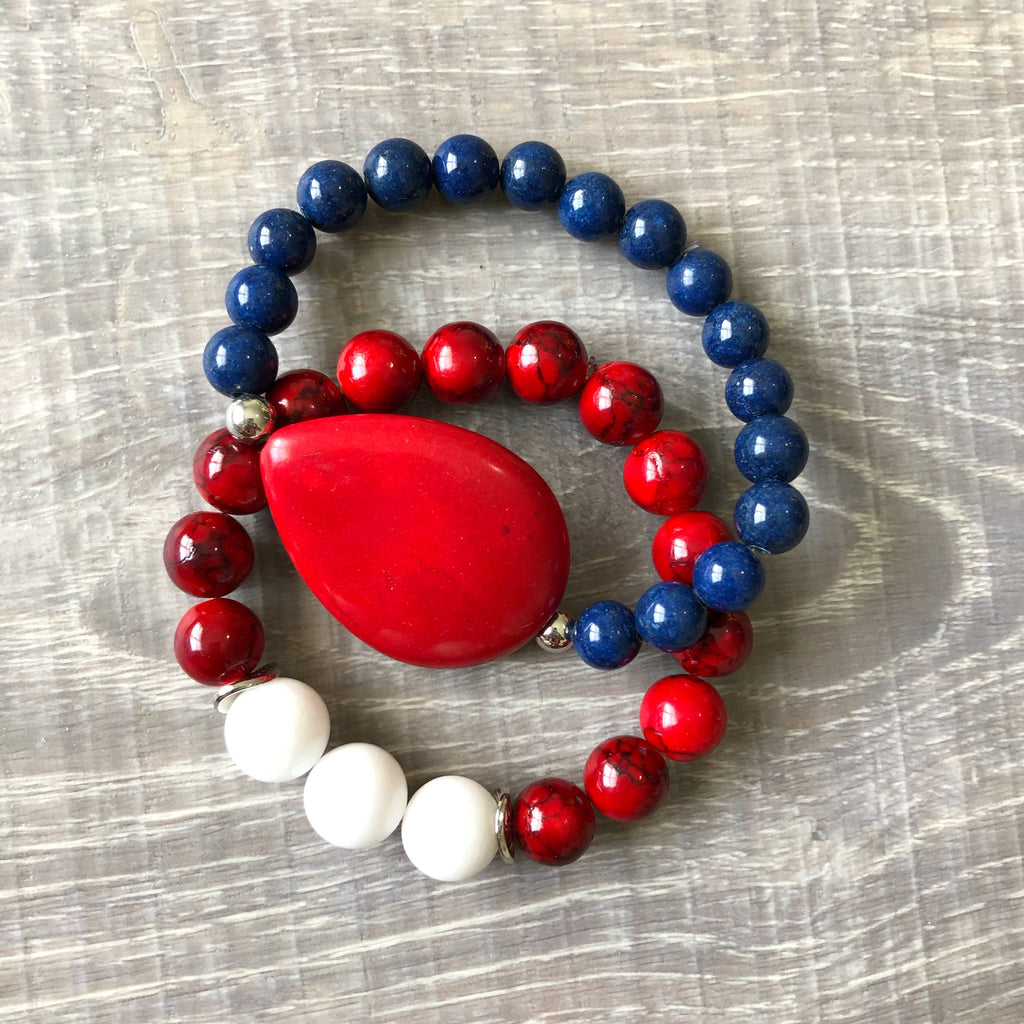 Red and Navy Beaded Bracelet