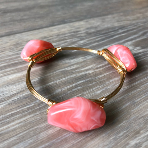 Coral Acrylic Bead Bangle