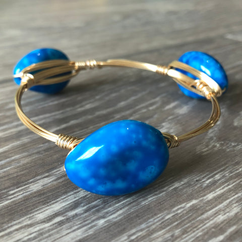 Blue Bead Bangle