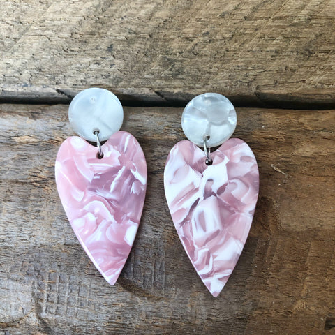 Pink Acrylic Heart Earrings