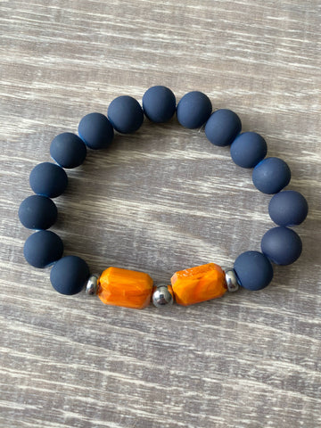 Navy and Orange Beaded Bracelet