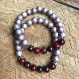 Burgundy and Mauve Beaded Bracelet