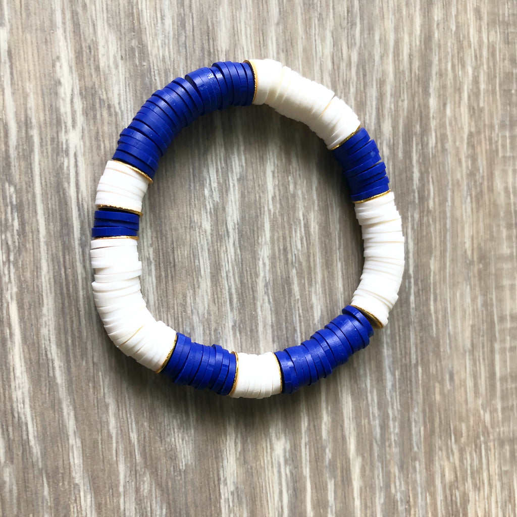 Blue and White Vinyl Heishi Bead Bracelet