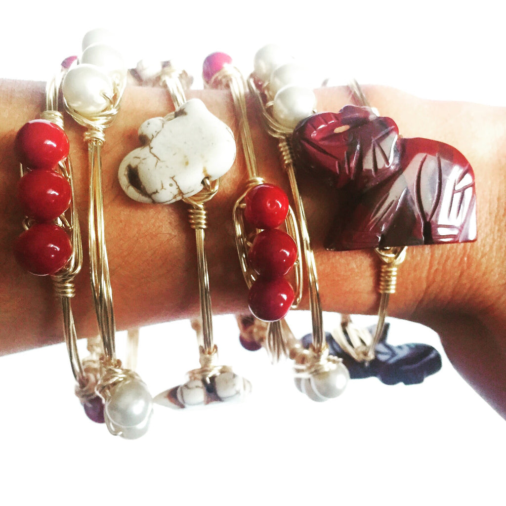Crimson Wire Wrap Bracelet