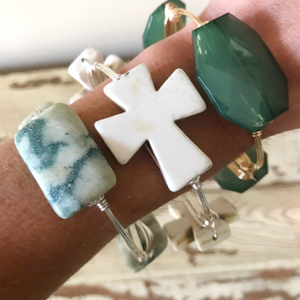 Tree agate wire wrap bracelet