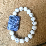Blue and White Beaded Bracelet