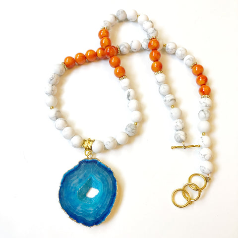Orange and Blue Agate Necklace