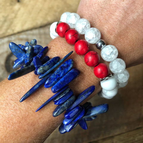 Red White and Blue Bracelet Stack
