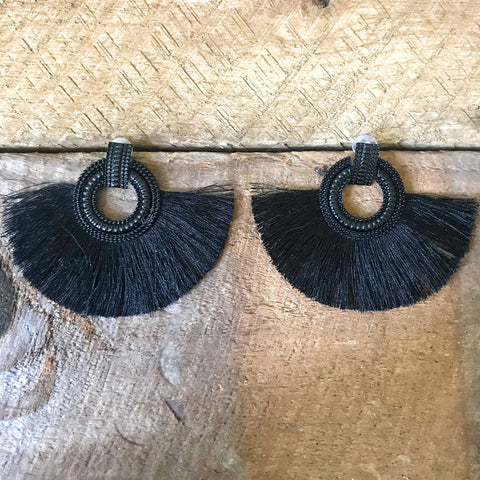 Black Fringe Tassel Earrings
