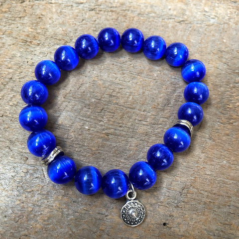 Blue and Silver Charm Bead Bracelet