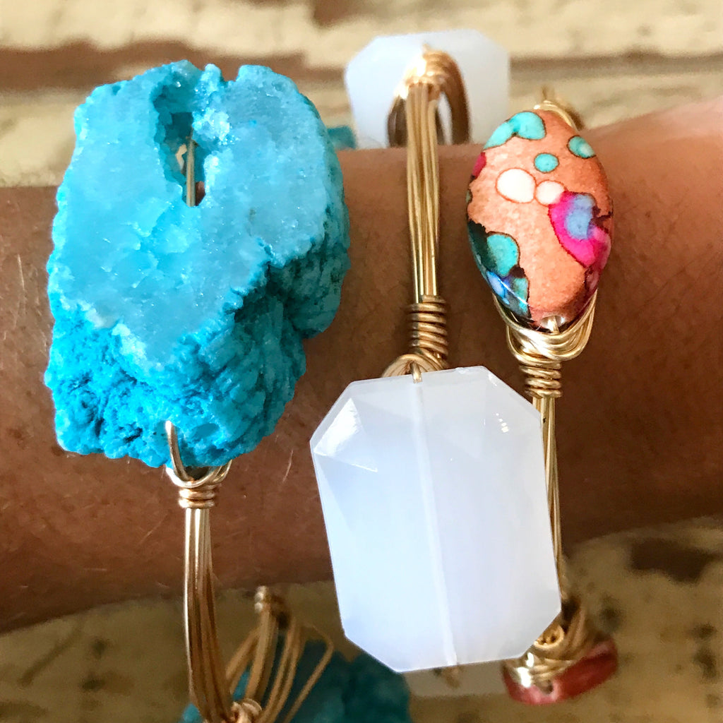 Blue Druzy Wire Bangle