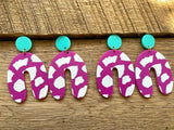 Fuschia and Mint Acrylic Earrings