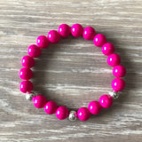 Pink and Blue Beaded Bracelet Stack