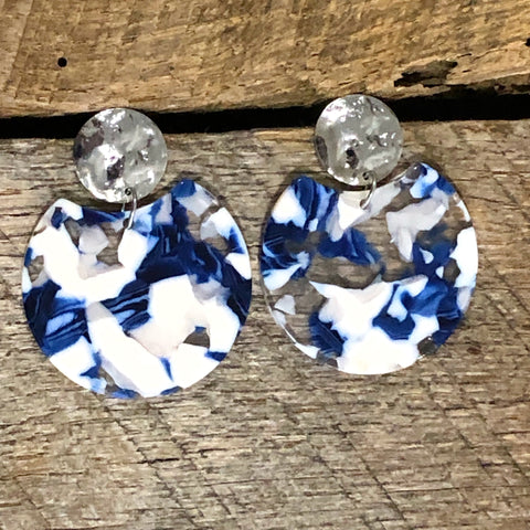 Blue and White Mosaic Earrings