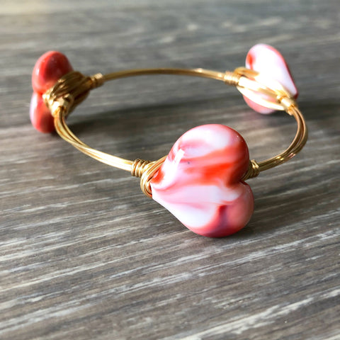 Red and White Marbled Heart Bangle