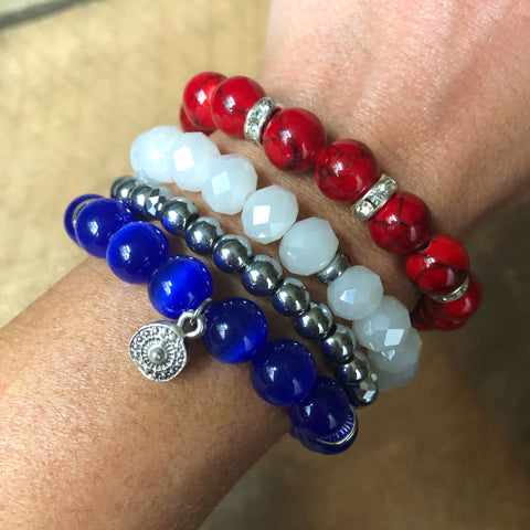 Red, White, and Blue Bracelet Stack