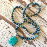 Green Druzy Pendant with African Jasper Beads