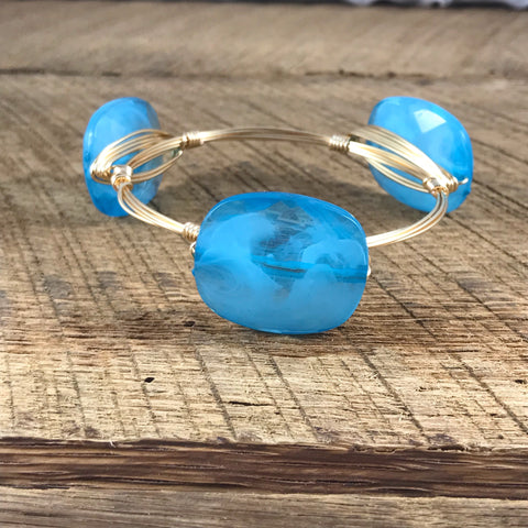 Creamy Blue Acrylic Bangle