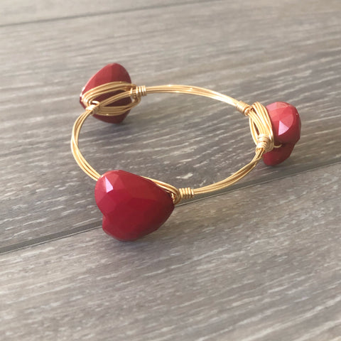 Dark Red Heart Bangle