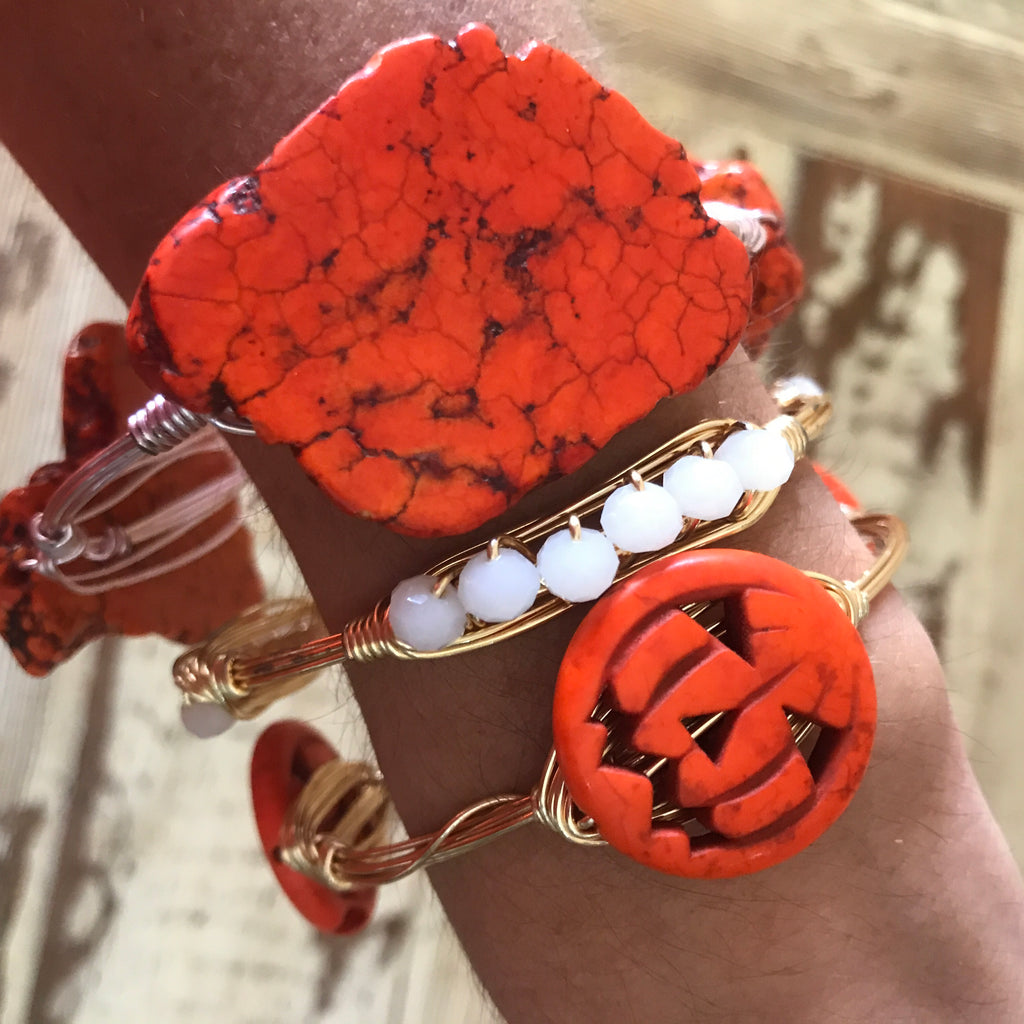 Orange jasper slab wire wrap bracelet