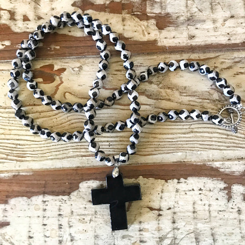 Black Agate Cross Necklace