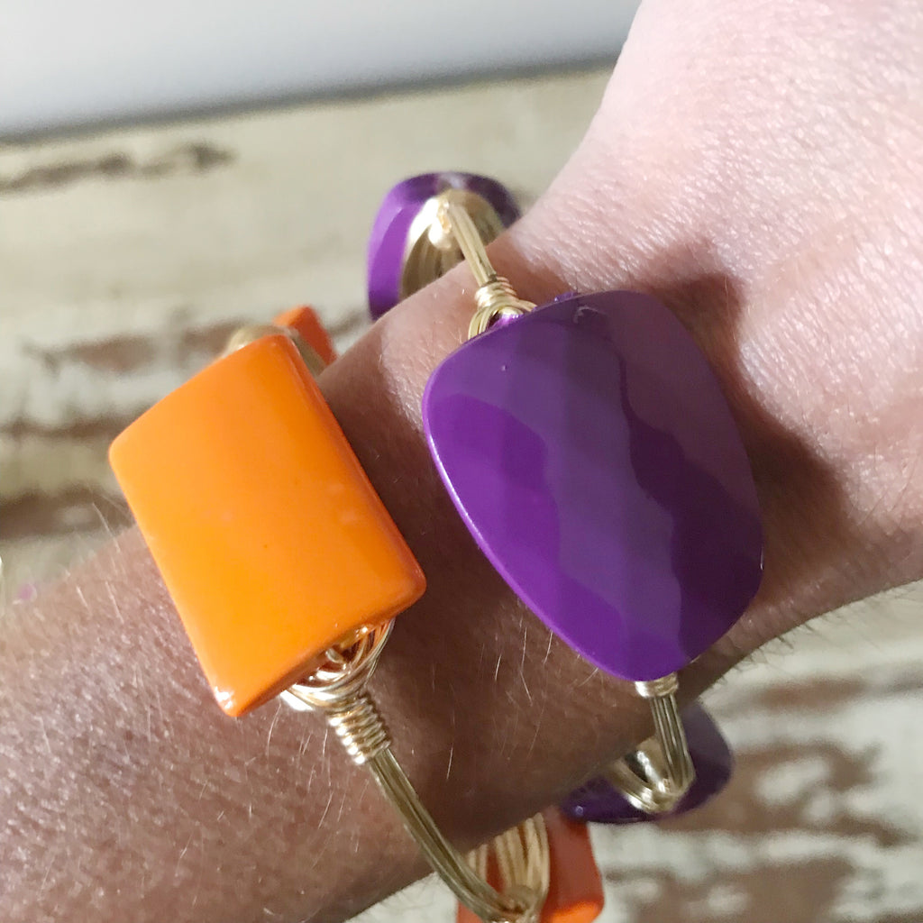 Orange Acrylic Wire Wrap Bangle