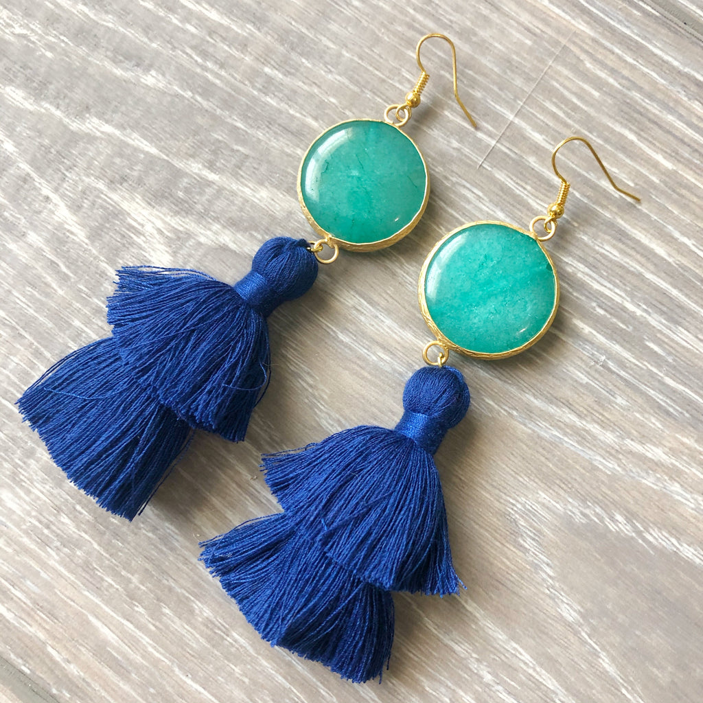 Turquoise and Blue Tassel Earrings