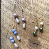 Green and White Pearl Earrings