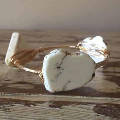 White Howlite Bangle