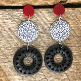 Red , White and Black Bead Earrings