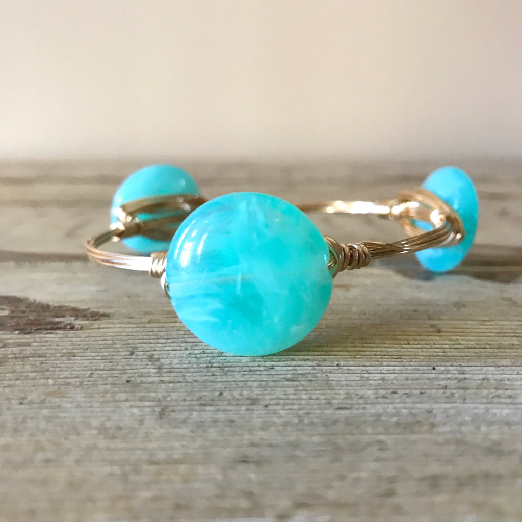 Round Mint Bead Bangle
