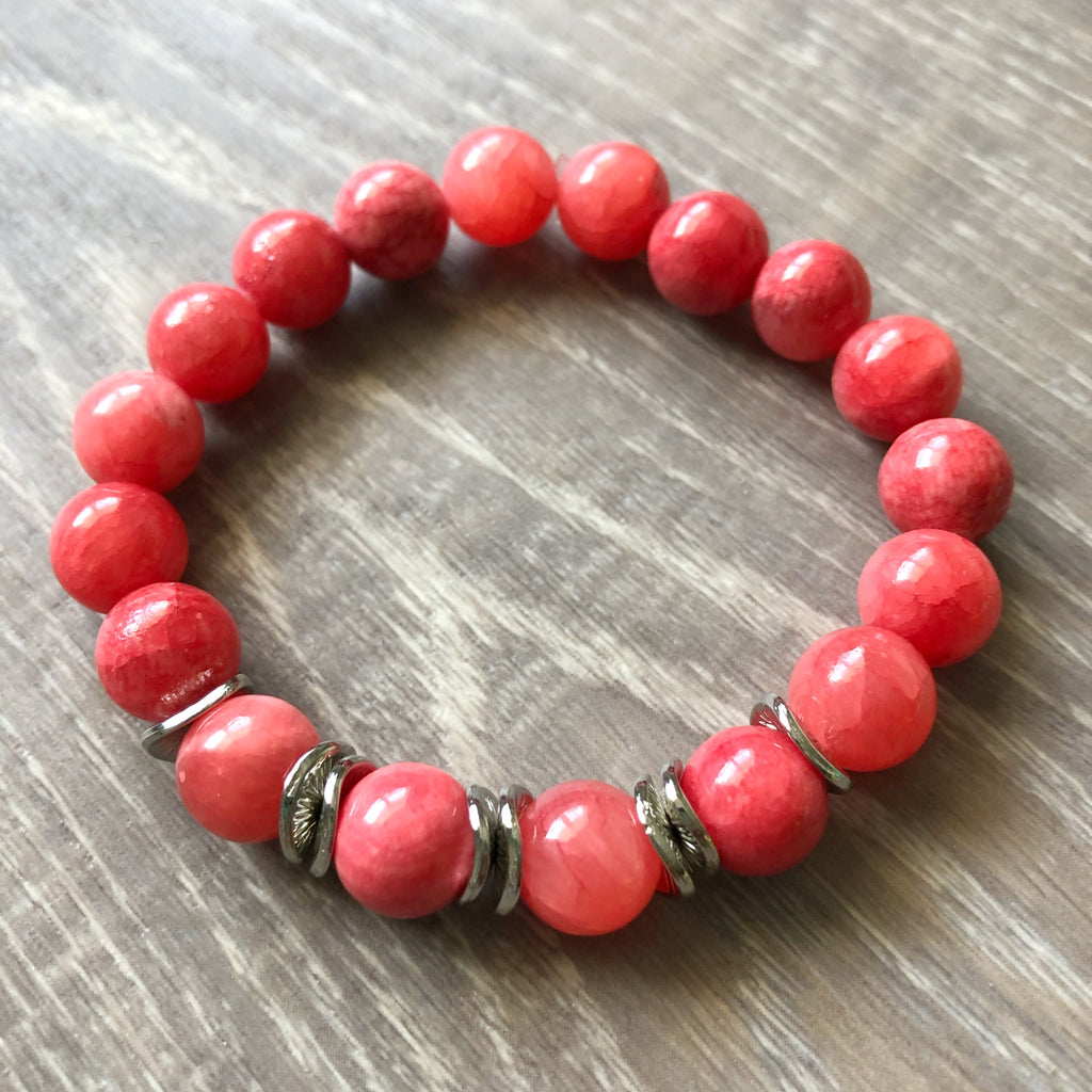 Mint and Coral Beaded Bracelet Stack