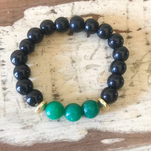 Black and Green Beaded Bracelet